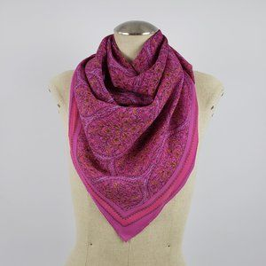 Pink Square Flower Print Scarf